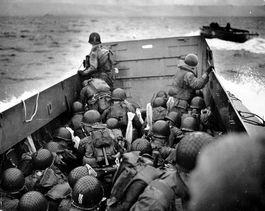 D-Day. Foto gemaakt vlak voor de landing op Omaha Beach