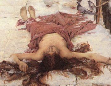 De Heilige Eulalia, even na haar dood, schilderij uit 1885 van John William Waterhouse