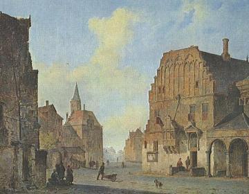 Schilderij met het oude stadhuis van Arnhem – Cornelis Springer, ca. 1840