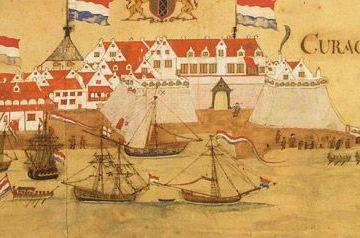 Fragment van een gezicht op de haven van Willemstad, de hoofdstad van Curaçao