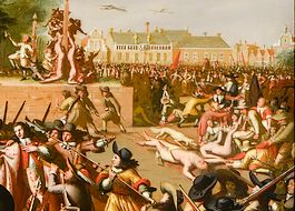 Gruwelijke afbeelding op het schilderij over de moord op de broers De Witt