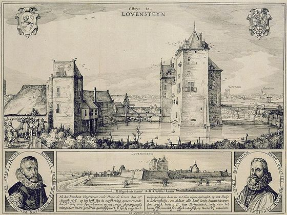 Slot Loevestein op een oude ets