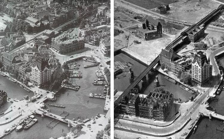 Rotterdam Wijnhaven voor en na het bombardement (klik voor een vergroting) – Foto's: WIO