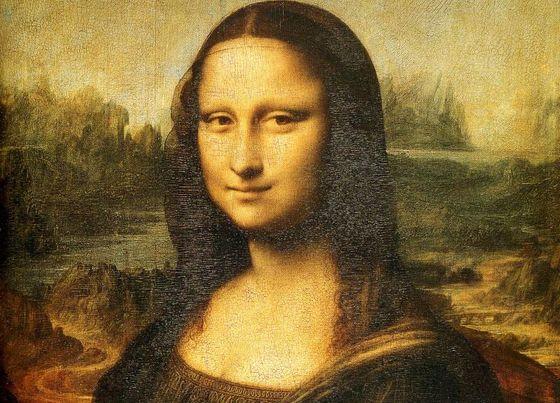 Detail van de Mona Lisa