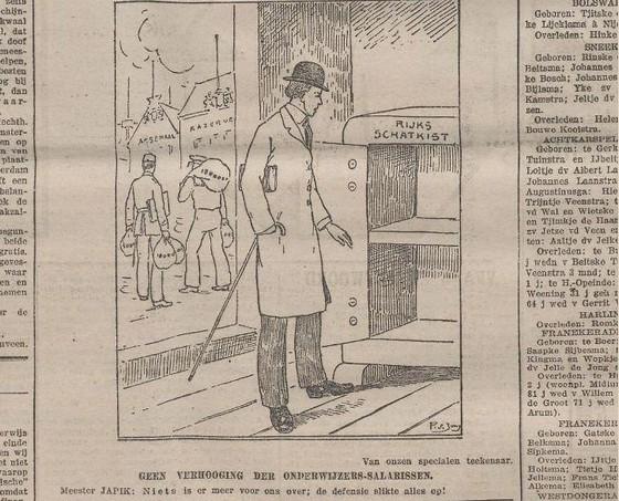 Afbeelding met een lege schatkist in het Nieuwsblad van Friesland, 14 februari 1914 (KB)