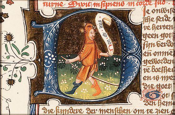 Afbeelding van een nar uit een middeleeuws handschrift – Eerste historiebijbel; KB: 78 D 38, ca. 1450