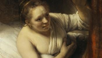 Rembrandt (1647?) Sara in verwachting van Tobias. National Gallery of Scotland, Edinburgh. Volgens Gary Schwartz zou dit Geertje Dircks kunnen zijn.
