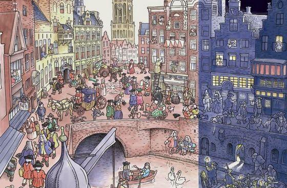 Affiche van de tentoonstelling 'Hoge pruiken, plat vermaak', gebaseerd op het boek van Freschot.