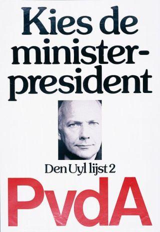 Poster van de PvdA: Kies de minister-president