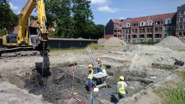 De opgraving in Enkhuizen - Foto: Archeologie West-Friesland, Hoorn