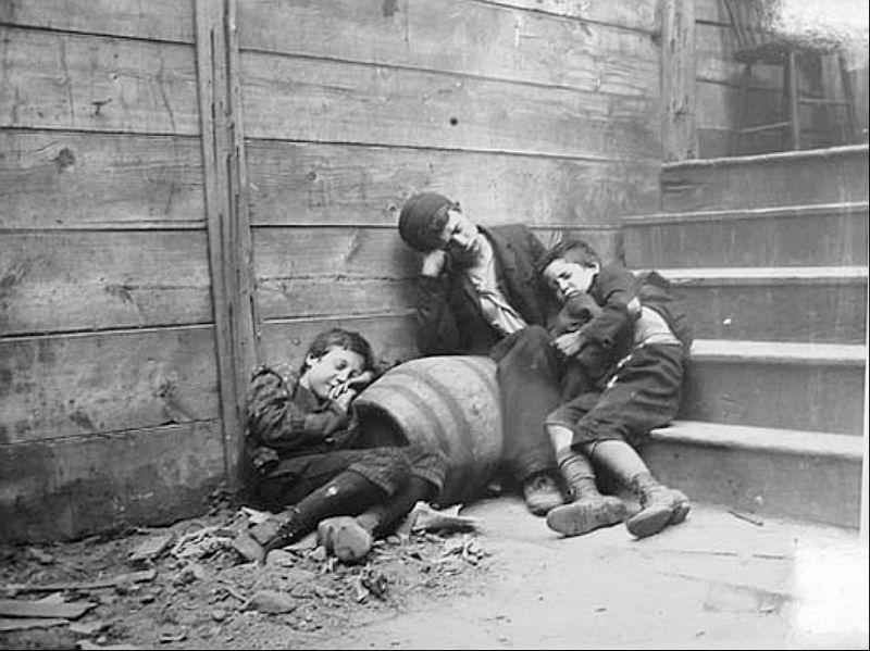 Kinderen in New York, ca. 1888 - Foto: Jacob Riis