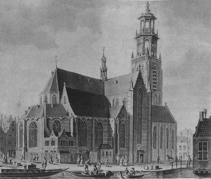 Oude tekening van de Laurenskerk in Rotterdam