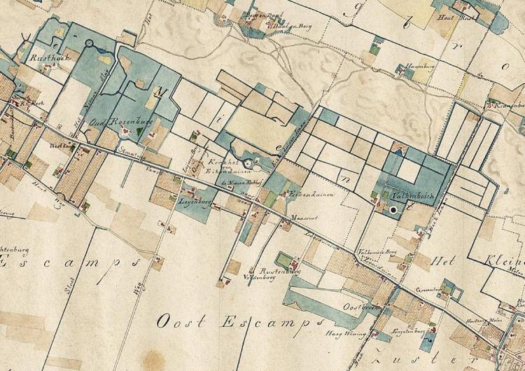 Fragment Nieuwe kaart van 's-Gravenhage met de omliggende dorpen en buitenplaatsen (S.W. van der Noordaa, 1838)