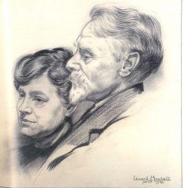 Lita de Ranitz en haar echtgenoot Willem Bastiaan Tholen – tekening door Eduard Houbolt, 1922 (Collectie Gemeentemuseum, Den Haag)