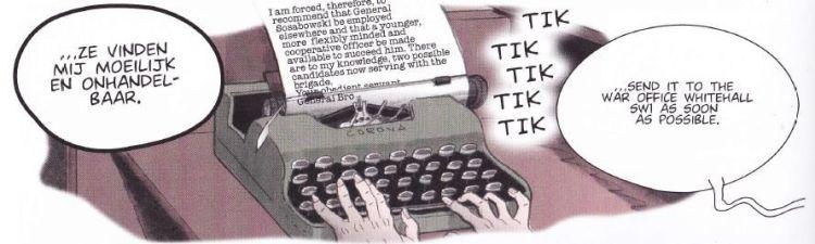De brief waarin de overplaatsing van Sosabowski wordt aangekondigd nog in de machine. - Hennie Vaessen