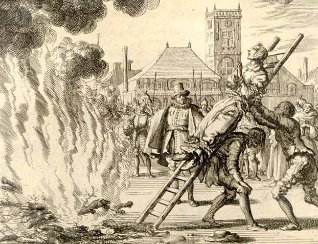 Heksen mochten de grond niet met hun voeten raken anders zouden ze mensen betoveren. Zo werd de de Amsterdamse Anneken Hendriks in 1571 op de brandstapel gehesen. (Ets uit 1685) Universiteitsbibliotheek Amsterdam