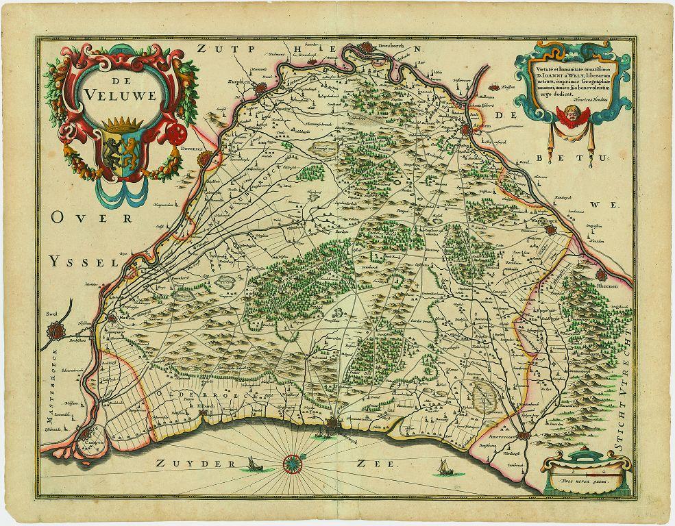 De oude kaart van de Veluwe - Afb: Cartografisch Antiquariaat Edward Wells
