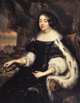 Het portret van Amalia van Solms in rouwdracht met in de achtergrond Huis ten Bosch. - Collectie Museum Het Prinsenhof