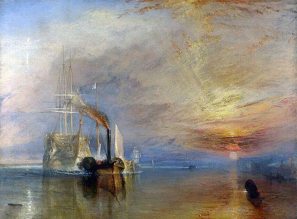 Op HMS Victory na, het eindlot van allen. Trafalgar veteraan HMS Téméraire door nietig stoom naar de sloper gesleurd. Schilderij (wiki) van J.M.W. Turner (1839)