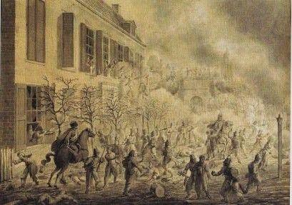 Eén van de weinige afbeeldingen van de Eerste Slag om Arnhem; een tekening van N. Sonnenberg uit 1815. Het logement De Zon, achter de kruitdampen,  vormde voor de Fransen hun laatste verdedigingslinie.