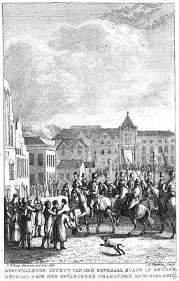 Triomfantelijke intocht van generaal Bulow in Arnhem. Prent in Nationaal gedenkboek der hernieuwde Nederlandsche unie, van den jare 1813 (1816) van Jan Konijnenberg.