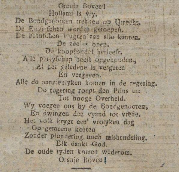 'Holland is vrij'. Proclamatie van 17 november 1813: 'Oranje boven! Holland is vry', in de 's Gravenhaagsche Courant van 19 november 1813. Maar Nederland nog niet.