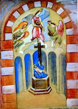 Otto van Rees, Eerste ontwerp voor de Pietàkapel van de Obrechtkerk in een barok georiënteerde stijl (gouache, z.j., 1931). Tekst rechtsonder: 'Ontwerp wandschildering Rozenkranskerk, Amsterdam'. Verblijfplaats: particuliere collectie, Canada.