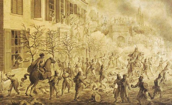 De eindfase van de strijd om Arnhem op 30 november 1813. Links is te zien hoe Franse soldaten zich hebben verschanst in logement 'De Zon'. Op de  achtergrond ontwaart men tussen de rook en kruitdamp de Rijnpoort. Gedeelte van een tekening/aquarel door N. Sonnenberg uit 1815. Collectie Topografisch-historische Atlas van Gelderland.