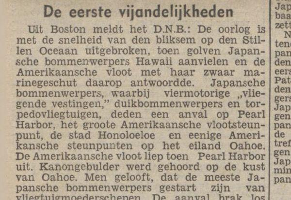 Bericht in het 'Nieuwsblad van het Noorden' van 8 december 1941