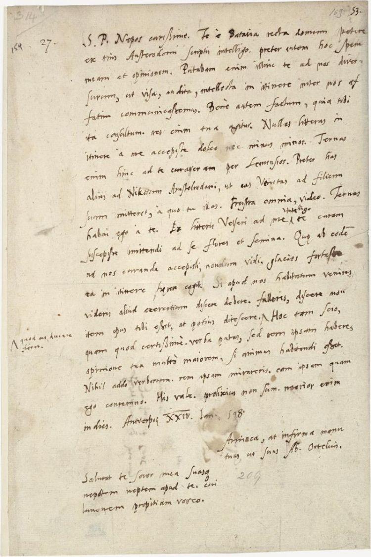 Briefwisseling van Abraham Ortelius, 1598 - KB