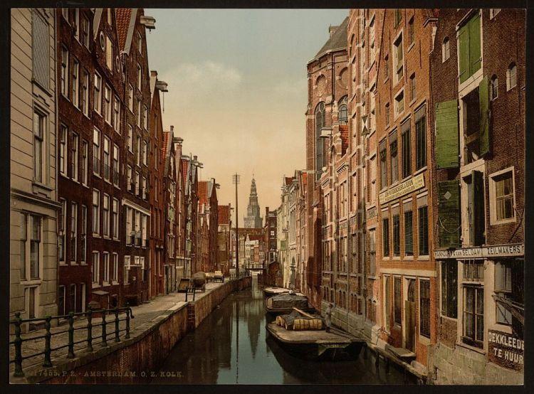Oudezijds Kolk in Amsterdam rond 1890 (Library of Congress)
