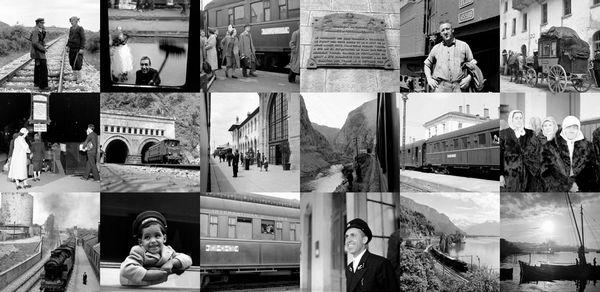 Collage van foto's van de Simplon Orient-Express door Jack Birns, 1950 - Retours