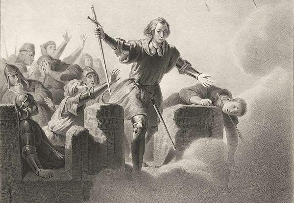Jan van Schaffelaar springt van de toren, 1482, Franciscus Bernardus Waanders, Nederlandsche Maatschappij van Schoone Kunsten, 1839 - 1841 (detail) - Rijksmuseum