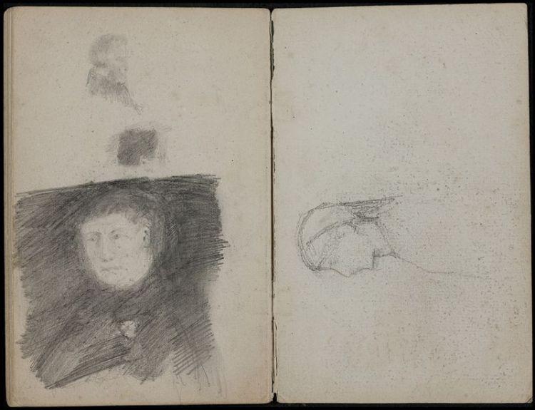 Vincent van Gogh (links) en Th. Maris (rechts), illustraties uit: Vincent van Gogh, tekstboekje, na 1873-1890, collectie Teylers Museum.