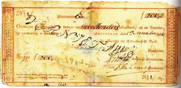 Het eerste Nederlandse bankbiljet ter waarde van 200 gulden, uitgegeven door de Nederlandsche Bank op 1 november 1814. Ontwerp door J. Enschedé en Zonen.