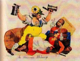 'Het armoedige huishouden'. Spotprent op de moeizame vereniging van Nederland een België: een Belgische biertapper in gevecht met een Hollandser kaasvrouw. (Spotprent door Ouvraij, ca. 1830)