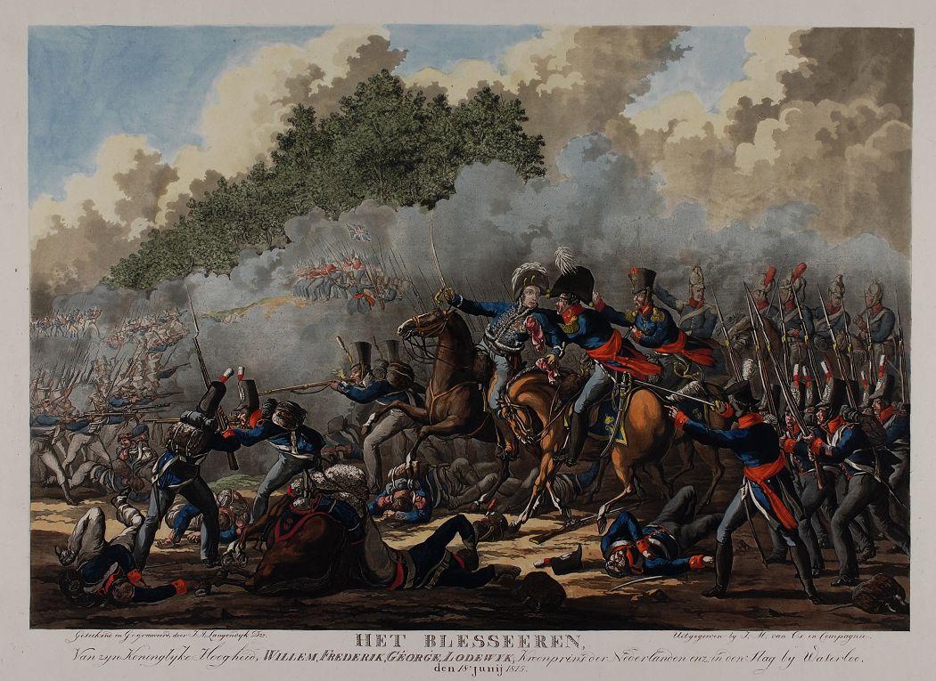 De Prins van Oranje raakt gewond tijdens de slag bij Waterloo - Jan Anthonie Lagendijk (Atlas Van Gijn)
