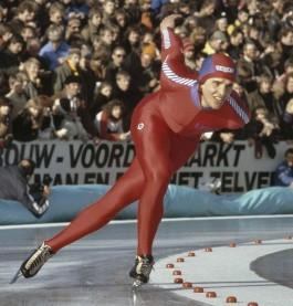 Eric Heiden tijdens een (openlucht)wedstrijd in 1980