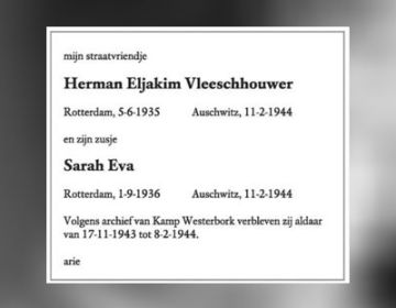 In memoriam voor Herman en Sarah Vleeschhouwer