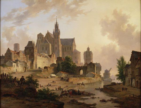 Bartholomeus Johannes van Hove, Stadsgezicht aan de Rijn, bij ondergaande zon, 1836. Collectie Teylers Museum