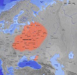 De contouren van Kiev-Roes in de 11e eeuw (GNU Free Documentation License)