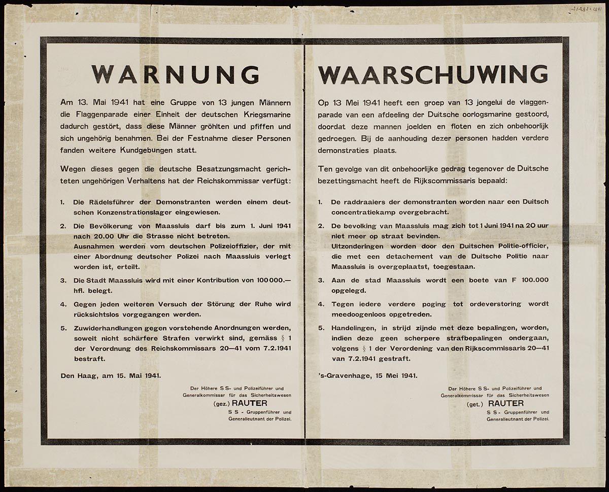 Affiche dat na het voorval in Maassluis werd verspreid - www.geheugenvannederland.nl / NIOD affichecollectie