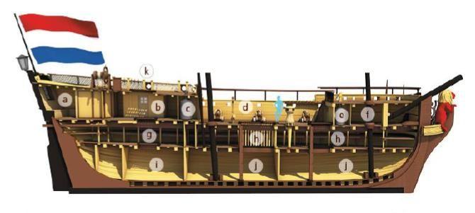 Driedimensionale tekening van een slavenschip (Zeeuws Archief)