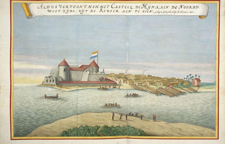 Het fort Elmina in Ghana; het centrum van de Nederlandse slavenhandel. (Illustratie Atlas van der Hem)
