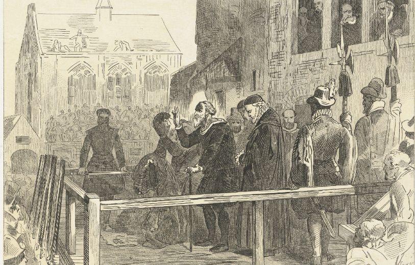 Johan van Oldenbarnevelt op het schavot vóór zijn executie, 1619, Jan van der Veen (prentmaker), Charles Binger, 1853 - 1861