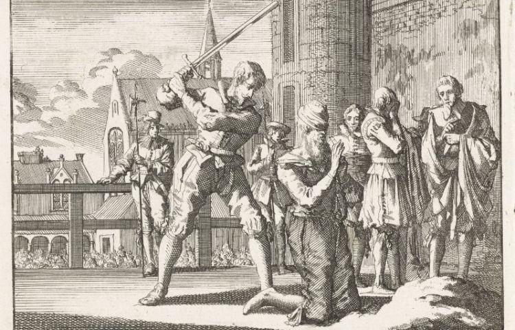 Onthoofding van Johan van Oldenbarnevelt - Jan Luyken, ca. 1696 (Rijksmuseum)