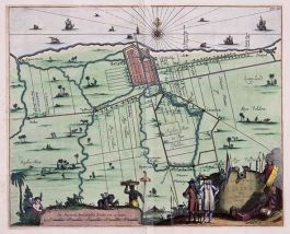 Kaart van Batavia en omgeving uit de Atlas van der Hagen, deel 4. Ingekleurde koperdruk, 1682. Collectie Koninklijke Bibliotheek.