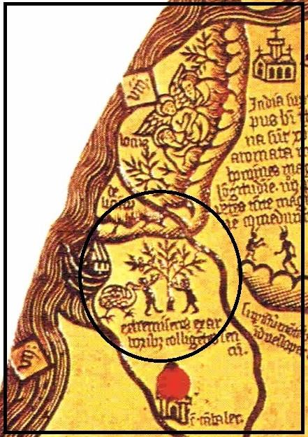 Borgia map (detail), c. 1430, met een enkele loopvogel (dodo). Links de ark van Noach.