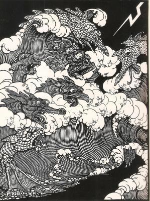 'De leviathannen drongen op elkaâr langs het pad dat Psyche ging.' Bernard Reith, illustratie voor Psyche. Oostindische inkt op papier (1917). Collectie Rijksmuseum