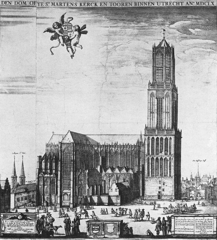 De Domkerk in 1660, voordat het middelste gedeelte als gevolg van een tornado zou instorten (Tekening Steven van Lamsweerde)